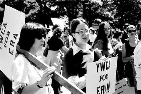 Archival photo of YWCA participating in an Equal Rights Amendment march