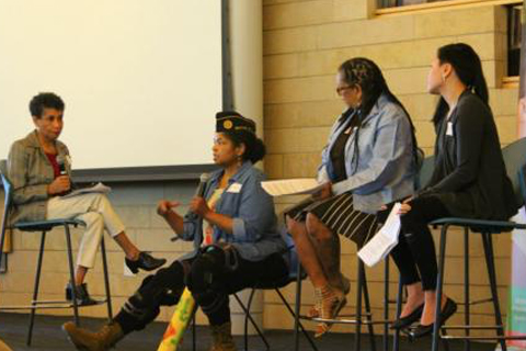 From left to right: Moderator Frances Carr, YWCA People of Color Executive Council; Panelists: Sheila Sebron, Veteran Service Officer with the American Legion; Michelle Allen, activist and author; Cathy Nguyen, Poet Laureate and Housing Operations Manager, YWCA.