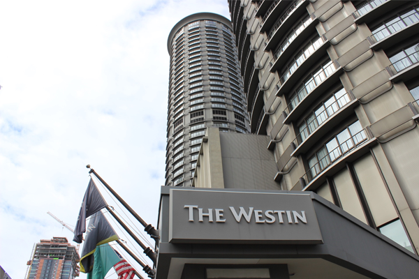 The Westin Hotel in Seattle is shown