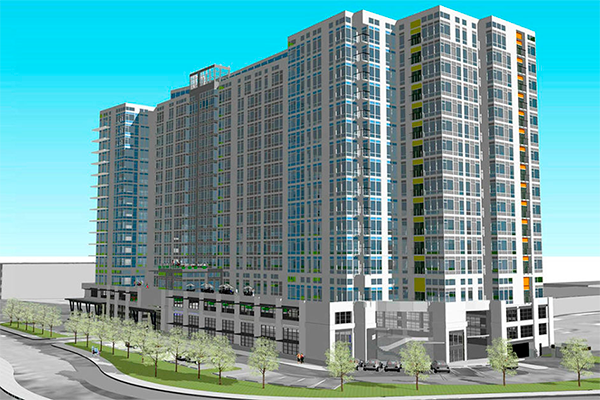 An artist's rendering of a new building in Lynnwood is shown