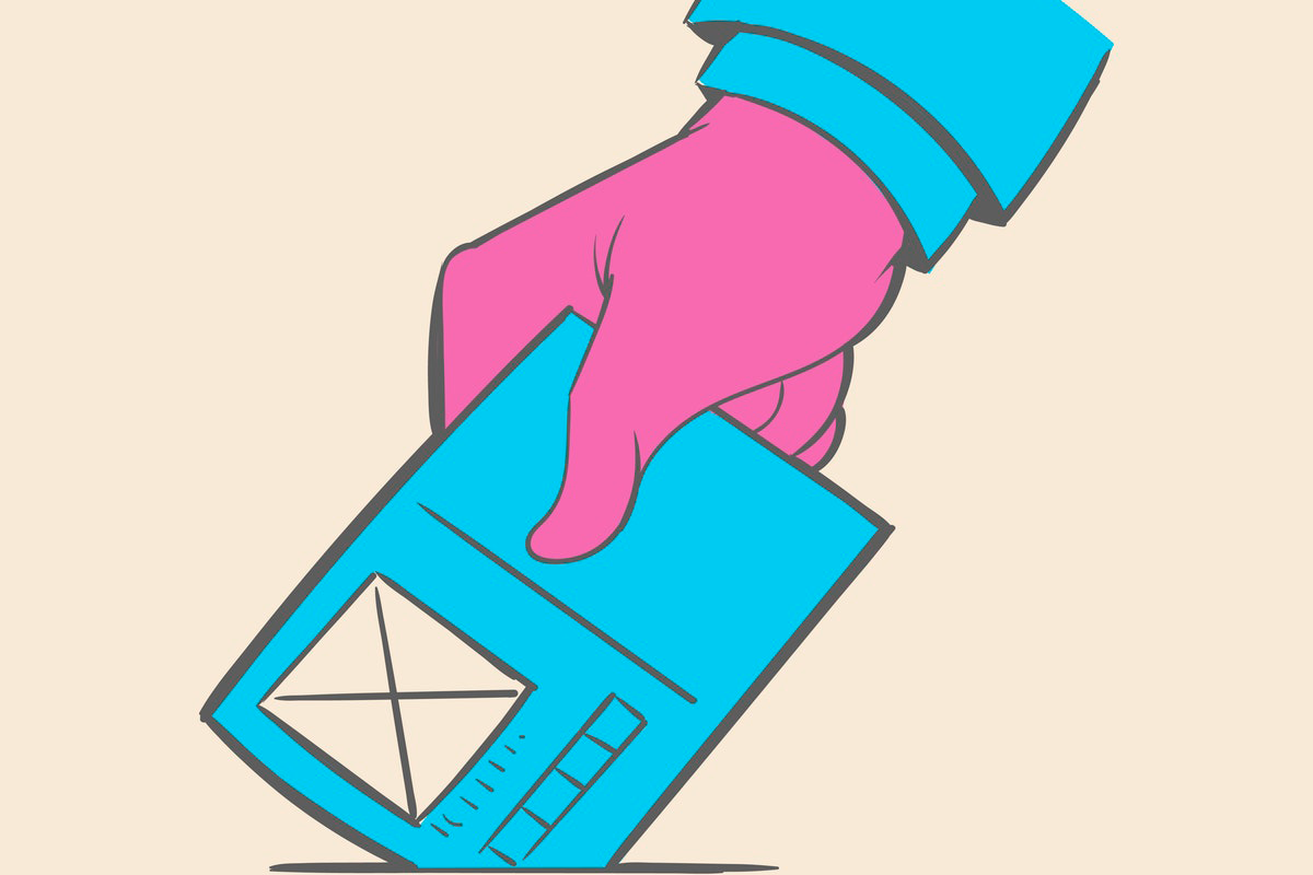 Drawing of a hand dropping off a ballot