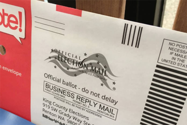 Washington ballot with pre-paid postage on it