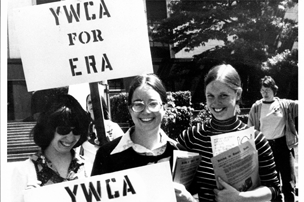 YWCA marching for the Equal Rights Amendment, in front of the Nakamura Federal Courthouse, Seattle 1973