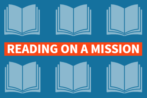 Reading on a mission text appears amid books
