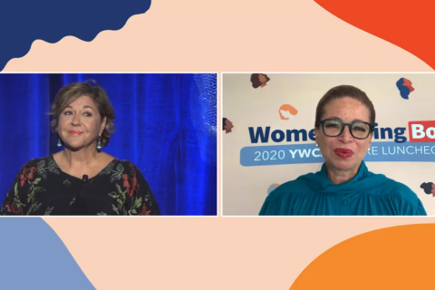 Screen grab of Elisa Jaffe and Valerie Jarrett from the September 10 YWCA Luncheon online event
