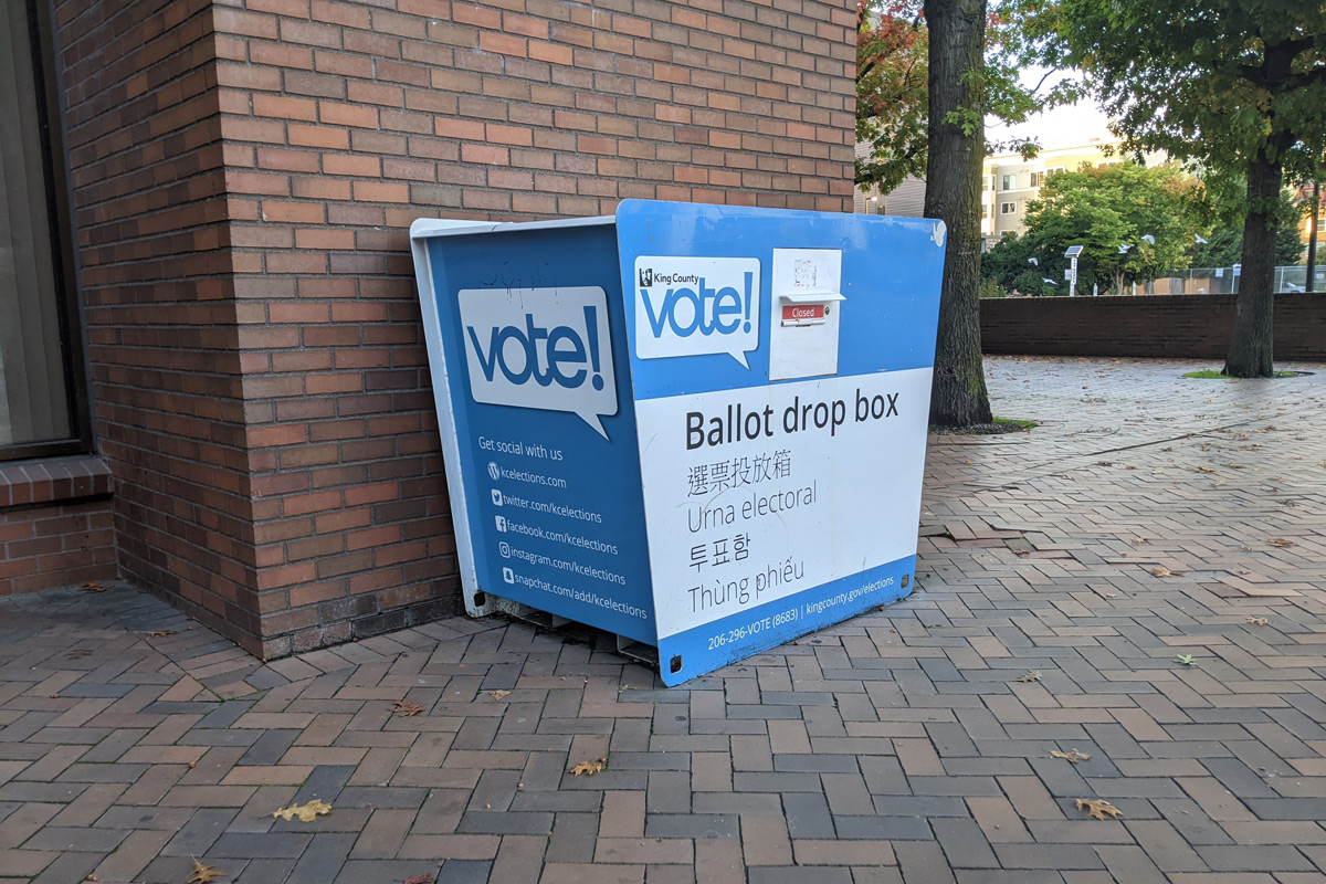 A King County ballot drop box is pictured