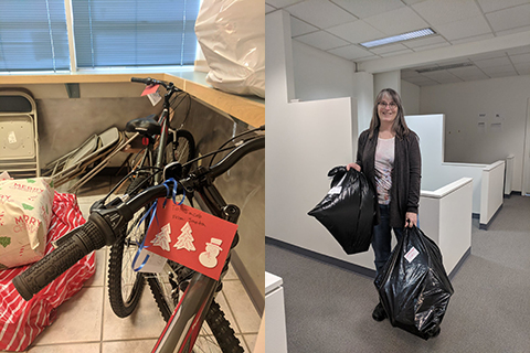 Left side: Bicycle donated during holidays. Right side: Volunteer with holiday gift donations.