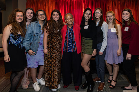 High school students with Nikki Giovanni