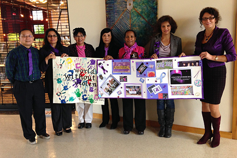 Group of YWCA staff members participating in the annual Week Without Violence campaign