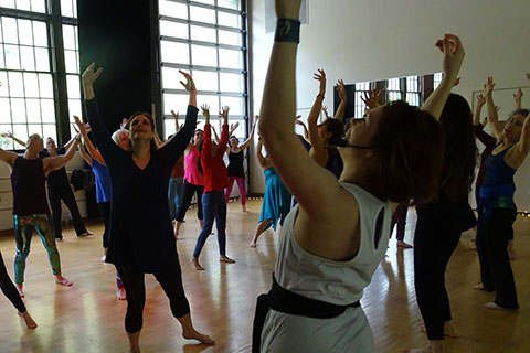 People participating in a Nia Movement class