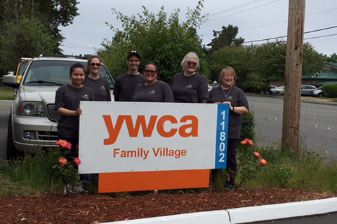 Volunteers posing at YWCA's Trinity Place