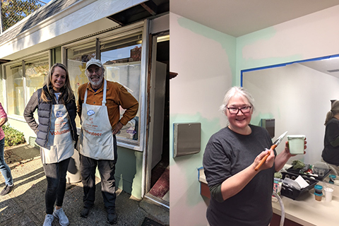 Left side: Two kitchen volunteers wearing aprons. Right side: Volunteer painting bathroom