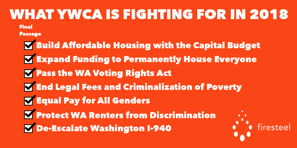 Checklist showing all bills supported by YWCA that passed