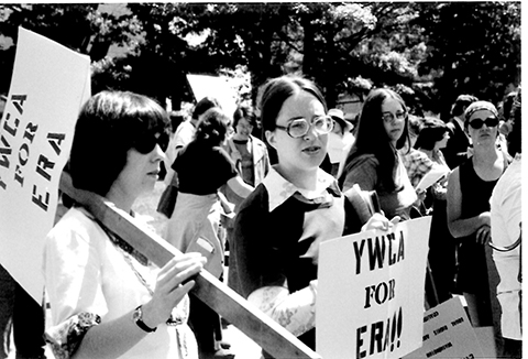 Archival photo of YWCA at Equal Rights Amendment march