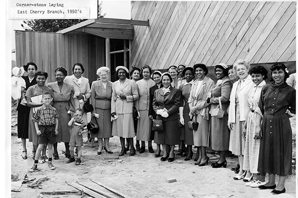 YW women laying the cornerstone at East Cherry Branch, 1952