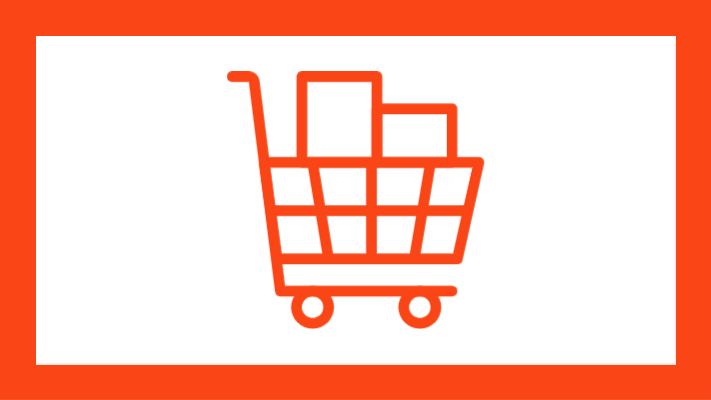 Graphic of a shopping cart icon