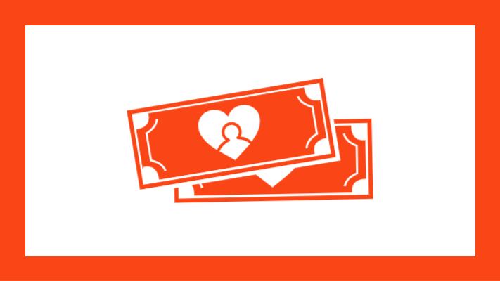 Graphic of money with heart icon