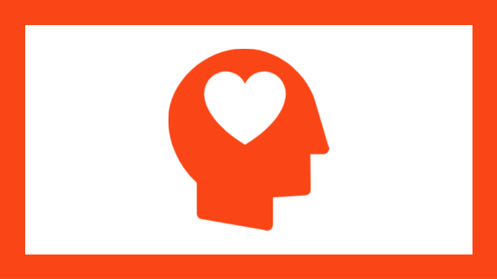 Graphic of head with heart inside icon