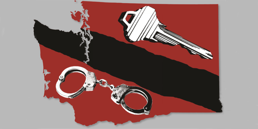 Photo collage of handcuffs and keys over Washington State's outline.