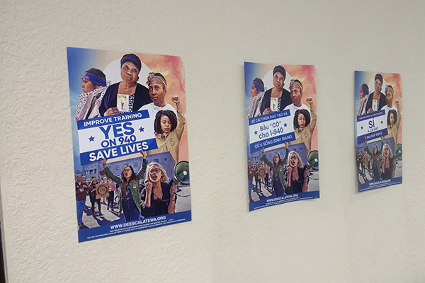 I-940 posters in Southside Commons