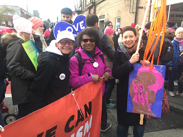 Maria Chavez Wilcox and YWCA staff participating in the 2018 MLK march