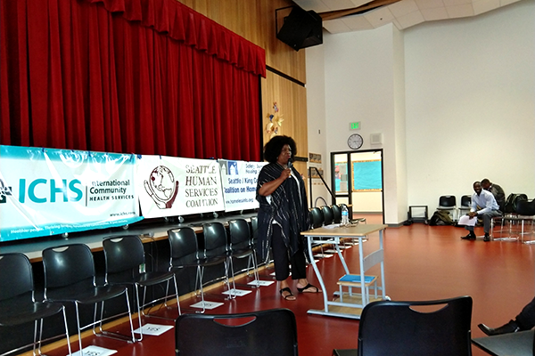 YWCA Chief Program Officer Patricia Hayden opening the Forum
