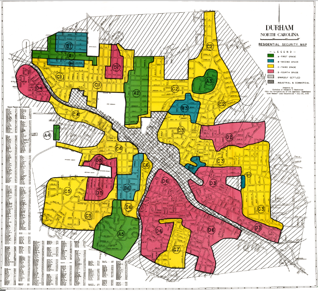 "FHA Map of Durham, NC showing how black neighborhoods were denied loans by the process of ""redlining"""