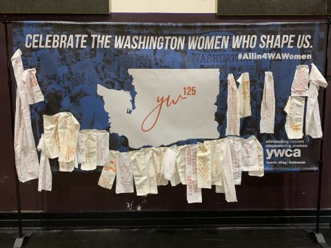 Picture of YWCA's traveling tapestry
