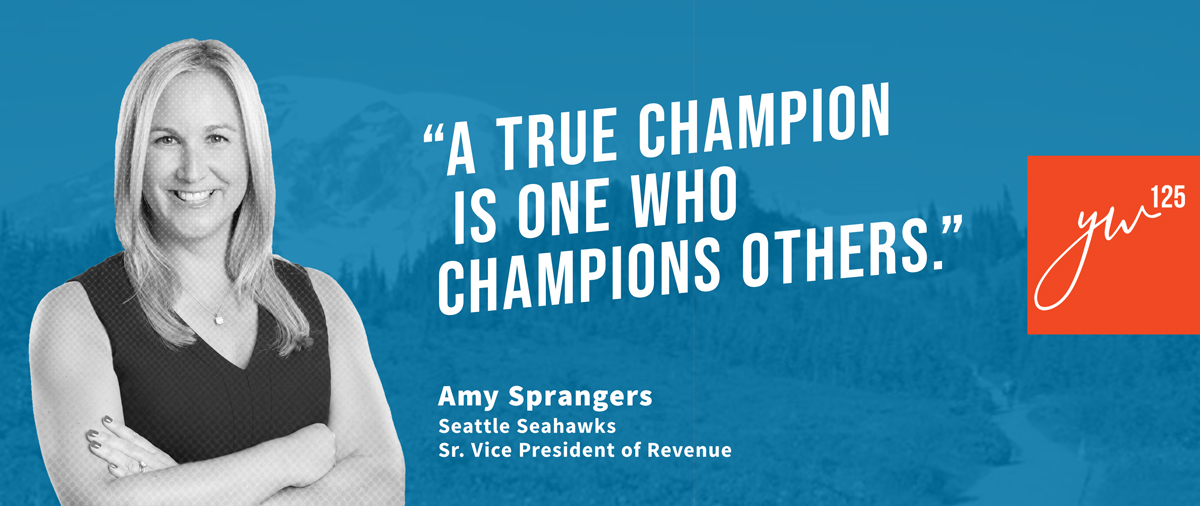 """A true champion is one who champions others."" - Amy Sprangers"