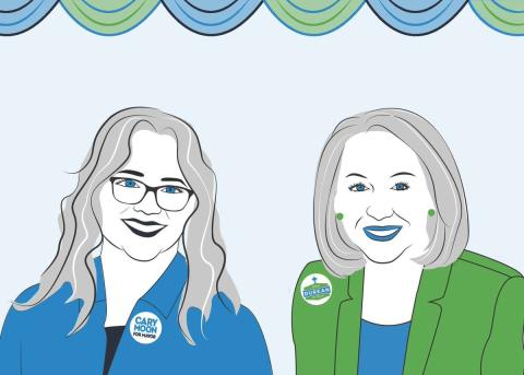 Cary Moon and Jenny Durkan are shown in a drawing by Madison Vucci, Digital Design project assistant at Seattle University Project on Family Homelessness
