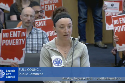 EMTs speak before the Seattle City Council