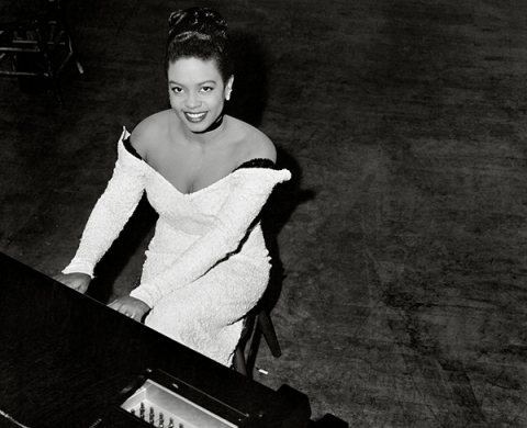 Hazel Scott at the piano, she refused to play in segregated venues. Source: Seattle on the Spot: The Photographs of Al Smith, University of Washington Press, 2017.