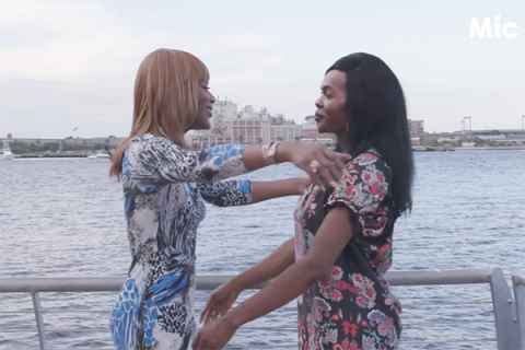 Two Black trans women hug in a Mic clip about violence against trans women in Texas
