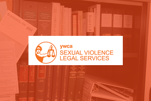 Sexual Violence Legal Services logo is shown over legal textbooks