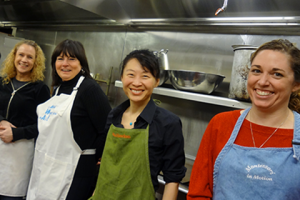 Group of YWCA volunteers helping in one of our kitchens