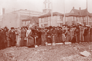 Picture from the 1913 groundbreaking ceremony of the Seneca building