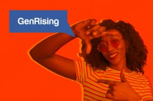Black woman and GenRising logo