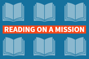 "Graphic with books that says ""reading on a mission"""