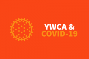 "Virus icon with text that says ""YWCA & COVID-19"""